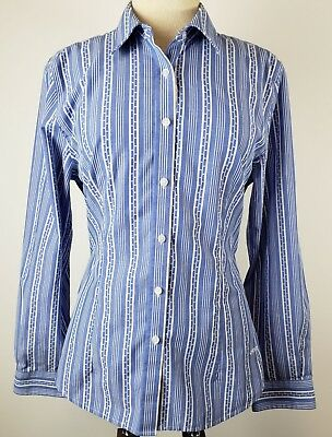 9b751db8 Orvis Womens Button Down Long Sleeve Dress Shirt Blue and White Striped  Wrinkle
