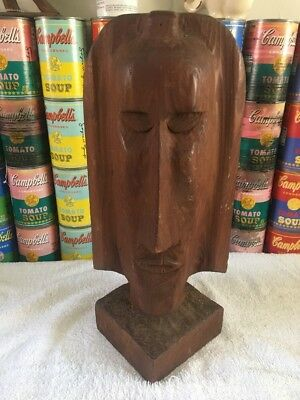 Vintage mid century modern folk art hand carved wood bust head sculpture