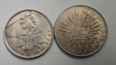 1872 UN PESO AND 1886 8 REALES  Novelty Coin.