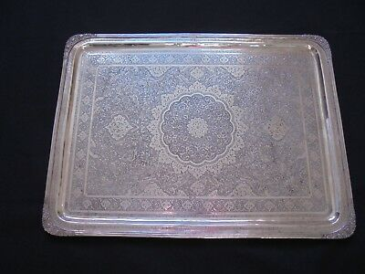 Antique Solid Silver Signed Persian Tray Salver