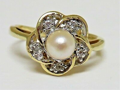 Signed Jrr 10K Yellow Gold Ladies Cultured Pearl Moi Ring Size 6.5 (2.7 Gm)