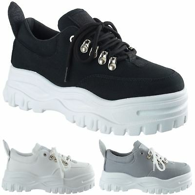 Womens Ladies Platform Trainers Lace Up Sneakers Plimsolls Comfy Fashion Shoes
