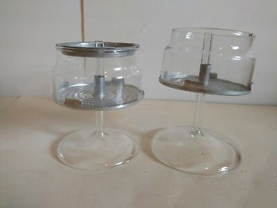 Lot Of 2 Vintage Pyrex Glass Percolator Replacement Pumps + Baskets - 6 + 9 Cups