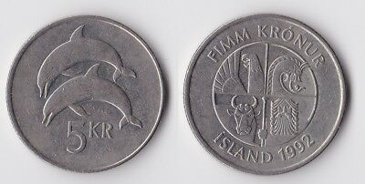 1992 Iceland 5 kronur coin with dolphins