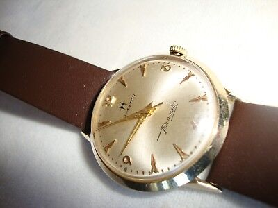 Vintage Rare Hamilton Model 663 Small Rotor Thin-O-Matic 14K  Gold Case Swiss