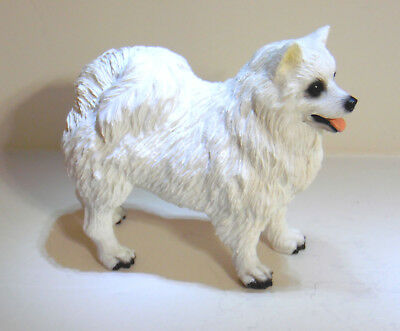 Pomeranian Samoyed Spitz White Resin Dog Figurine 1991