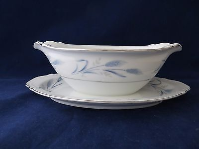 Harmony House Diana China Blue #3836 Pattern Gravy Boat Attached Underplate  EUC