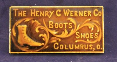 Vintage The Henry C. Werner Co. Boots Shoes Advertising Ceramic