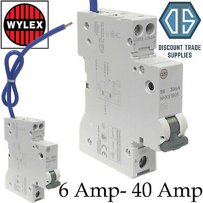 Wylex NHXS1B Compact 1 Module B Type RCBO 6 10 16 20 32 or 40 30mA RCBOs Amp