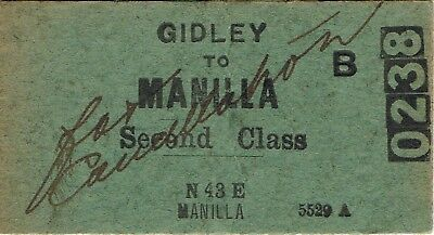 Railway tickets a trip from Gidley to Manilla by the old NSWGR