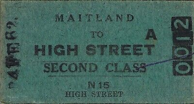 Railway tickets a trip from Maitland to High Street by the old NSWGR in 1962