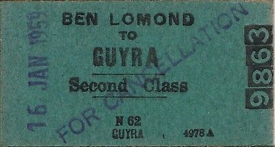 Railway tickets a trip from Ben Lomand to Guyra by the old NSWGR in 1959