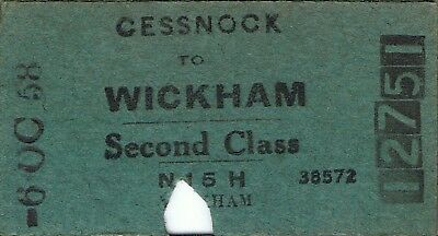 Railway tickets a trip from Cessnock to Wickham by the old NSWGR in 1958