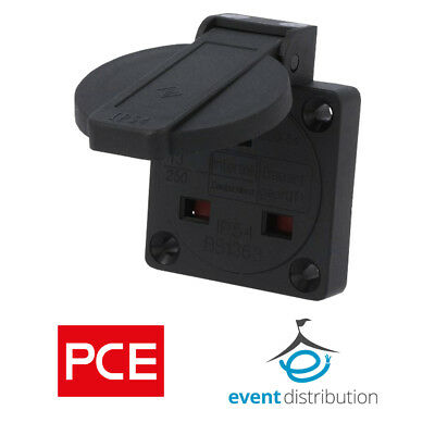 PCE 13AMP Black Panel Mount Socket Connector 1020-5S 2P+E 230V IP54 UK Mains