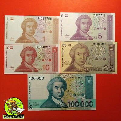 Croatia 5PCS Banknote Dinar LOT 1991-93 NEW UNC FREE POST