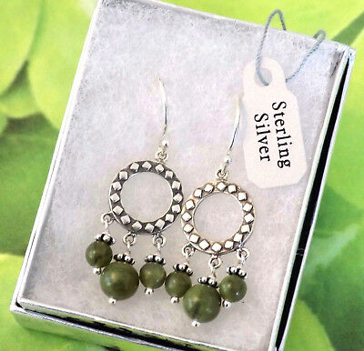 Small Connemara Marble Celtic Earrings ☘ Solid Sterling Silver Irish Jewelry 925