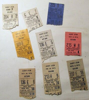 Lot of 9 Early 70's Kentucky Colonels ABA American Basketball Assc. Ticket Stubs