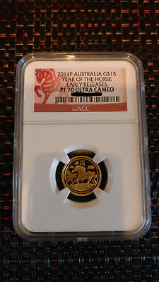 2014 Perth Mint Year of the Horse $15 Gold Proof 1/10oz NGC PF70
