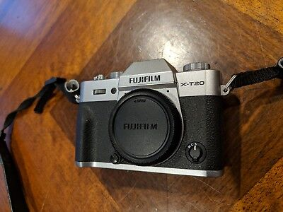 Fuji X-T20, Used, With Grip, Silver. Rear screen not working, but camera working
