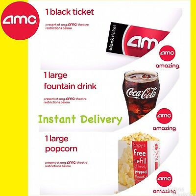INSTANT DELIVERY. AMC: FREE 1 BLACK TICKET, 1 LARGE Popcorn and 1 LARGE Drink