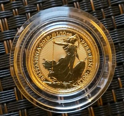 2019 Britannia £10 Gold 1/10th oz Great Britain Coin In RM Capsule