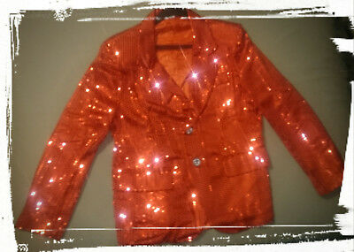 New Boys Size Large L 12 14 Red Sequin Jacket Costume Blazer Coat Dance Jazz