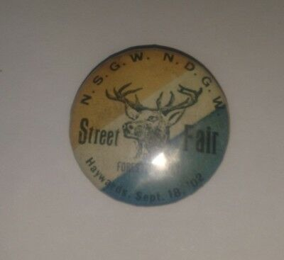 """Haywards Sept 18 1902 Street Fair Foresters' Day Antique BUTTON 1.5"""""""