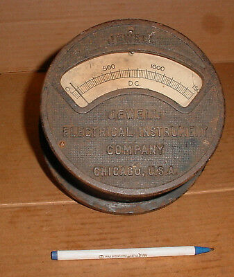 Antique Large Brass Jewell Electrical Instument Gage