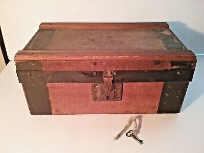 Antique DOLL TRUNK W/Orig. KEY & Tray - Original LEATHER STRAPS Intact - VGC