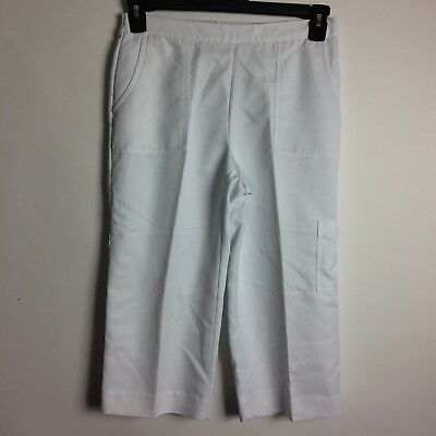 98011dd8be8 Alfred Dunner Womens Size 8 Petite White 100% Polyester Capri Cropped Pants