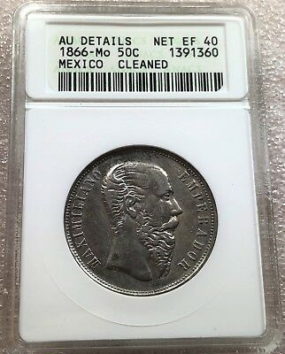 1866 Mo Mexico Maximillian 50 Cents Anacs AU Details KM-387 Only 31,000 Mintage