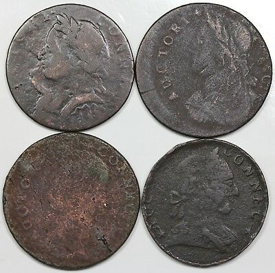 Lot of 4 1787-1788 Connecticut Coppers, all different varieties, lower grades