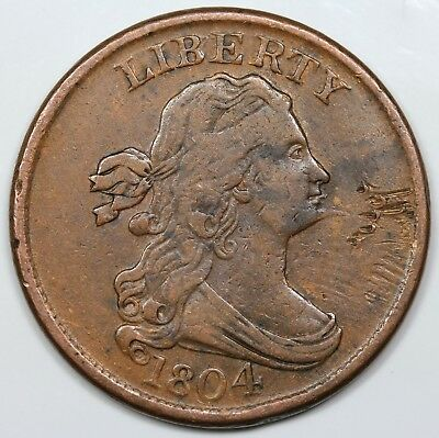 1804 Draped Bust Half Cent, Spiked Chin, VF-XF detail