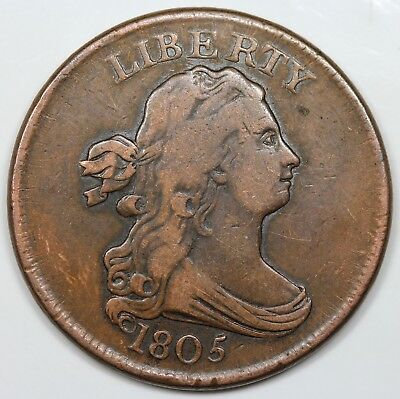 1805 Draped Bust Half Cent, No Stems, VF detail