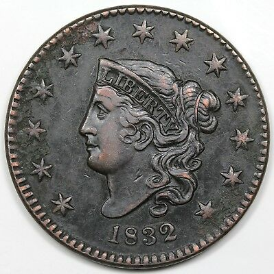 1832 Coronet Head Large Cent, Large Letters, XF detail