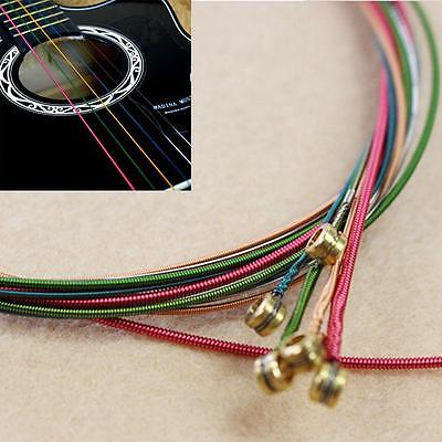 6PCS Acoustic Guitar Rainbow Color Steel Strings Replacement Accessories WL