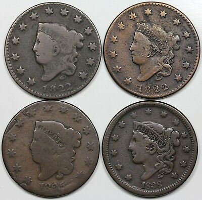 Lot of 4 Coronet Head Large Cents, 2x 1822, 1825, 1838, average circulated