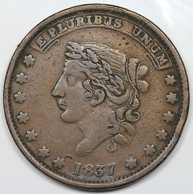 1837 Hard Times Token, Millions For Defence, Not One Cent For Tribute, VF detail