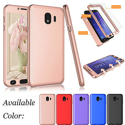 For Samsung Galaxy J4 J8 2018 Shockproof 360 Hard Full Case Cover+Tempered Glass