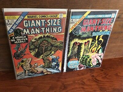 Giant-Size Man-Thing  #3, 4 Lot Of 2 Marvel Comics 1975 Bronze