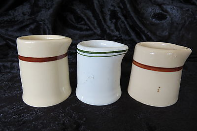 Creamers Porcelain China 3 Individual Diner Coffee Shop 1950s Cream Pitchers