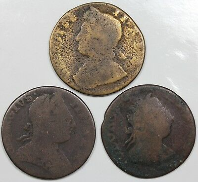 Lot of 3 contemporary non-regal Great Britain Halfpennies, George II, III