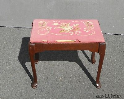 Vintage Rustic French Provincial Pink Needlepoint Bench Stool