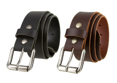 """Antique Roller Buckle With Genuine Full Grain Leather Casual Belt 1 1/2"""" Wide"""