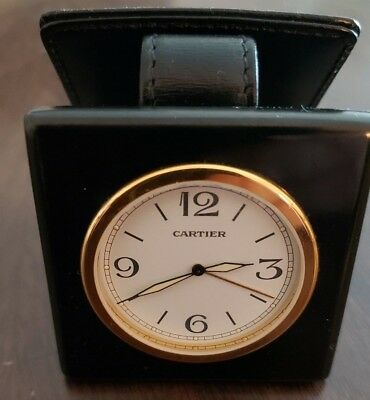 Cartier Travel Alarm Clock in black leather case