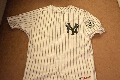Yankees Rob Thompson 2014 Game Issued Jersey Jeter Patch