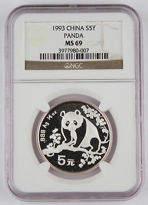 1993 China 1/2 Oz 999 Silver Panda 5 Yuan Coin NGC MS69 GEM BU