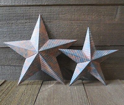 "Corrogated Rusty Metal Barn Stars 8"" & 10"" Lot of 2 Country Ribbed Tin Barn Star"