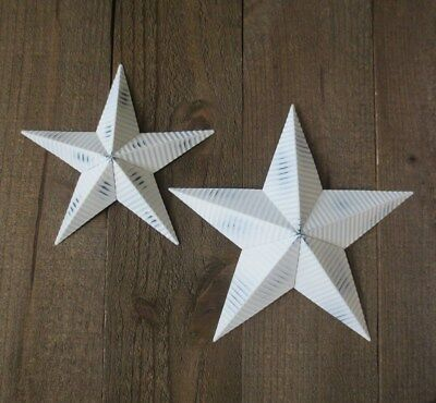 "Corrogated White Metal Barn Stars 8"" & 10"" Lot of 2 Country Ribbed Tin Barn Star"