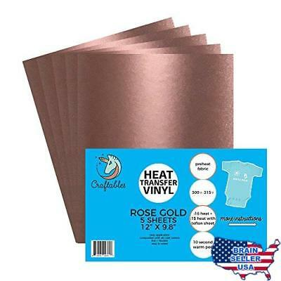 "(5) 12"" x 9.8"" Sheets of Craftables Rose Gold Heat Transfer Vinyl HTV - Easy to"